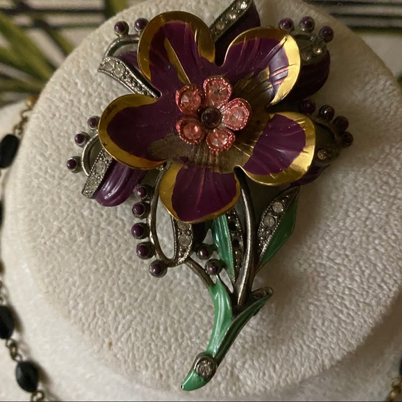 Vintage Lilac Rhinestone Flower Brooch Enamel Brooch Rhinestone Flower Brooch